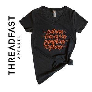Women's Threadfast Apparel Fall Custom Short Sleeve Shirt Autumn Pumpkins Cute